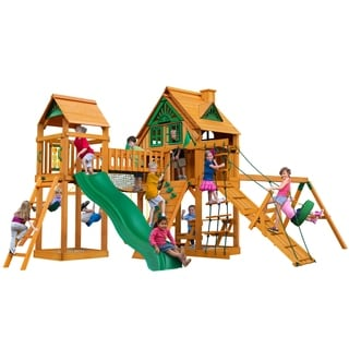 Gorilla Playsets Pioneer Peak Treehouse Swing Set with Fort Add-On and Amber Posts