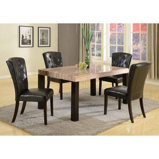 5 Piece Contemporary Faux Marble Dining Set