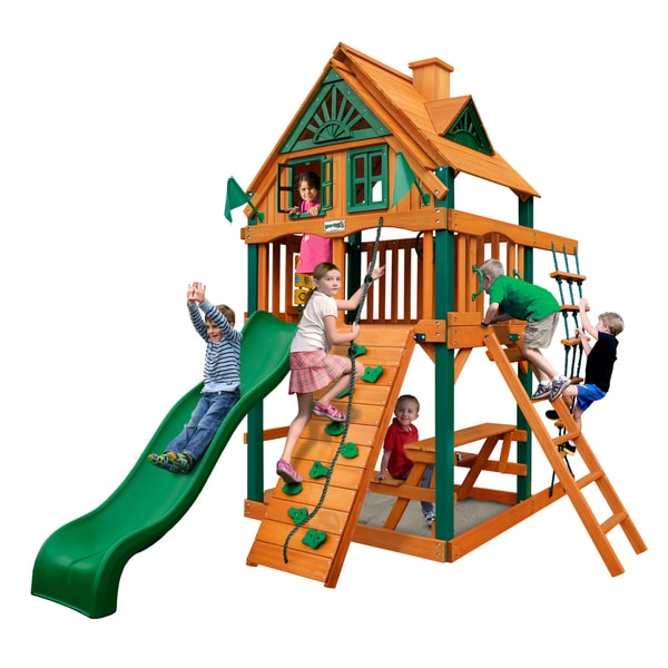 Gorilla Playsets Chateau Treehouse Tower Swing Set with Fort Add-On & Timber Shield