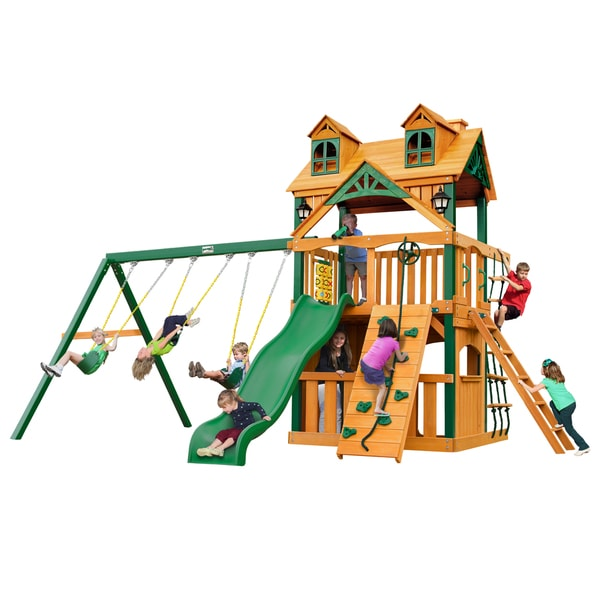 Gorilla Playsets Malibu Clubhouse Swing Set with Timber Shield