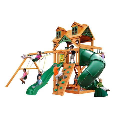Gorilla Playsets Mountaineer Cedar Swing Set with Malibu Wood Roof and Natural Cedar Posts - Brown