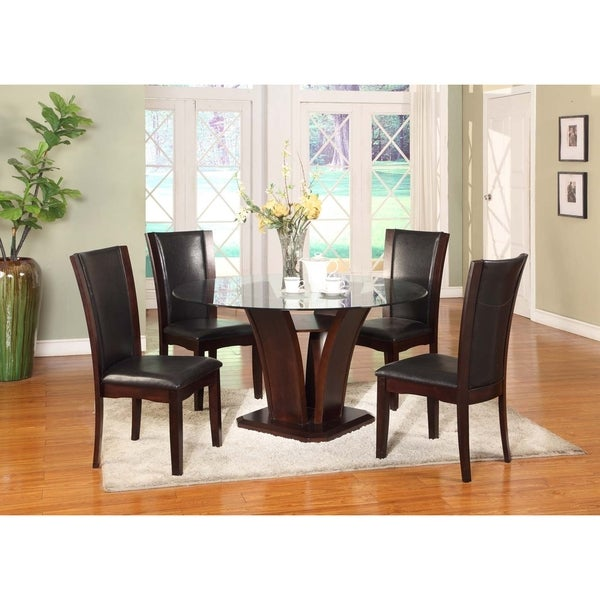5 piece dark brown dining set with round glass top table