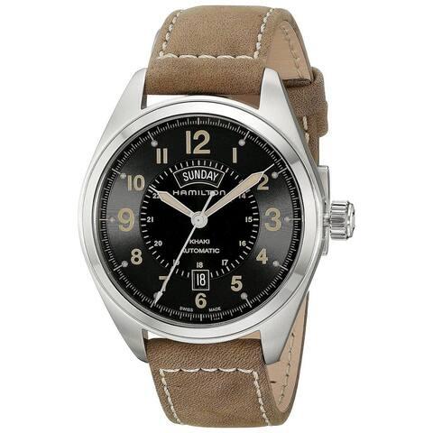 Hamilton Men's H70505833 'Khaki Field' Brown Leather Watch