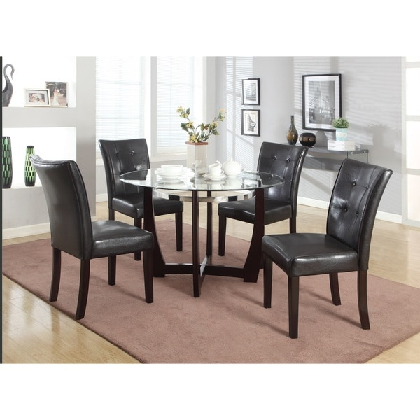 Shop Wesley Cappuccino Glass Top Round 5 Piece Dining Set
