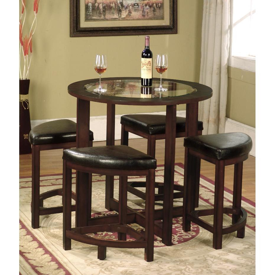 Cylina Solid Wood Round Dining Set in Dark Brown with Gla...