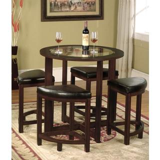 Copper Grove Sonfjallet Solid Wood Round Dining Set in Dark Brown with Glass Top : round table with leaf dining sets - Pezcame.Com