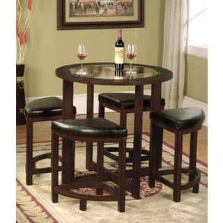 Cylina Solid Wood Round Dining Set in Dark Brown with Glass Top. Dining Room Sets For Less   Overstock com