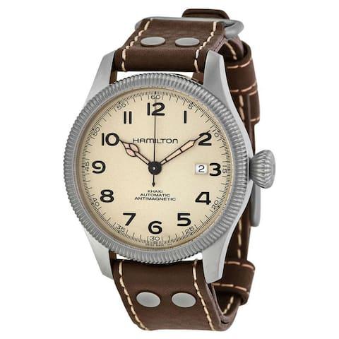 Hamilton Men's H60455593 'Khaki Field Pioneer' Brown Leather Watch