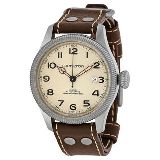 Link to Hamilton Men's H60455593 'Khaki Field Pioneer' Brown Leather Watch Similar Items in Men's Watches