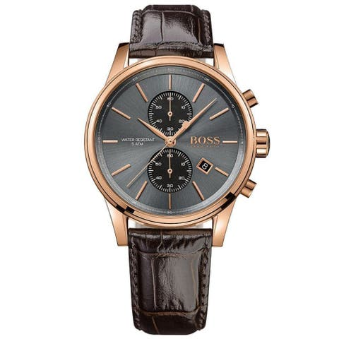 Hugo Boss Men's 1513281 'Jet' Chronograph Brown Leather Watch
