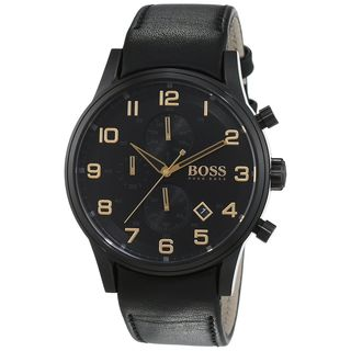 Hugo Boss Men's 1513274 'Aeroliner ' Chronograph Black Leather Watch