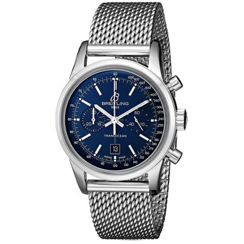 Breitling Men's A4131012-C862 'Transocean 38' Automatic Chronograph Stainless Steel Watch