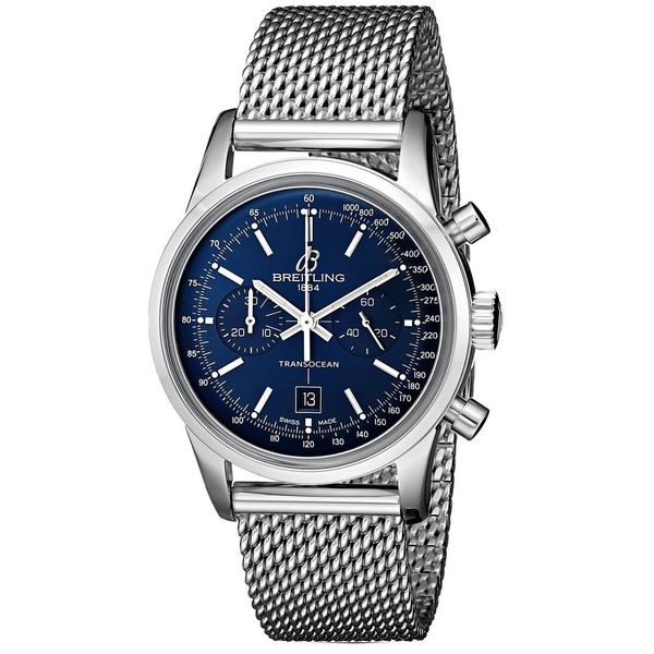 Breitling Men's A4131012-C862 'Transocean 38' Automatic Chronograph Stainless Steel Watch. Opens flyout.