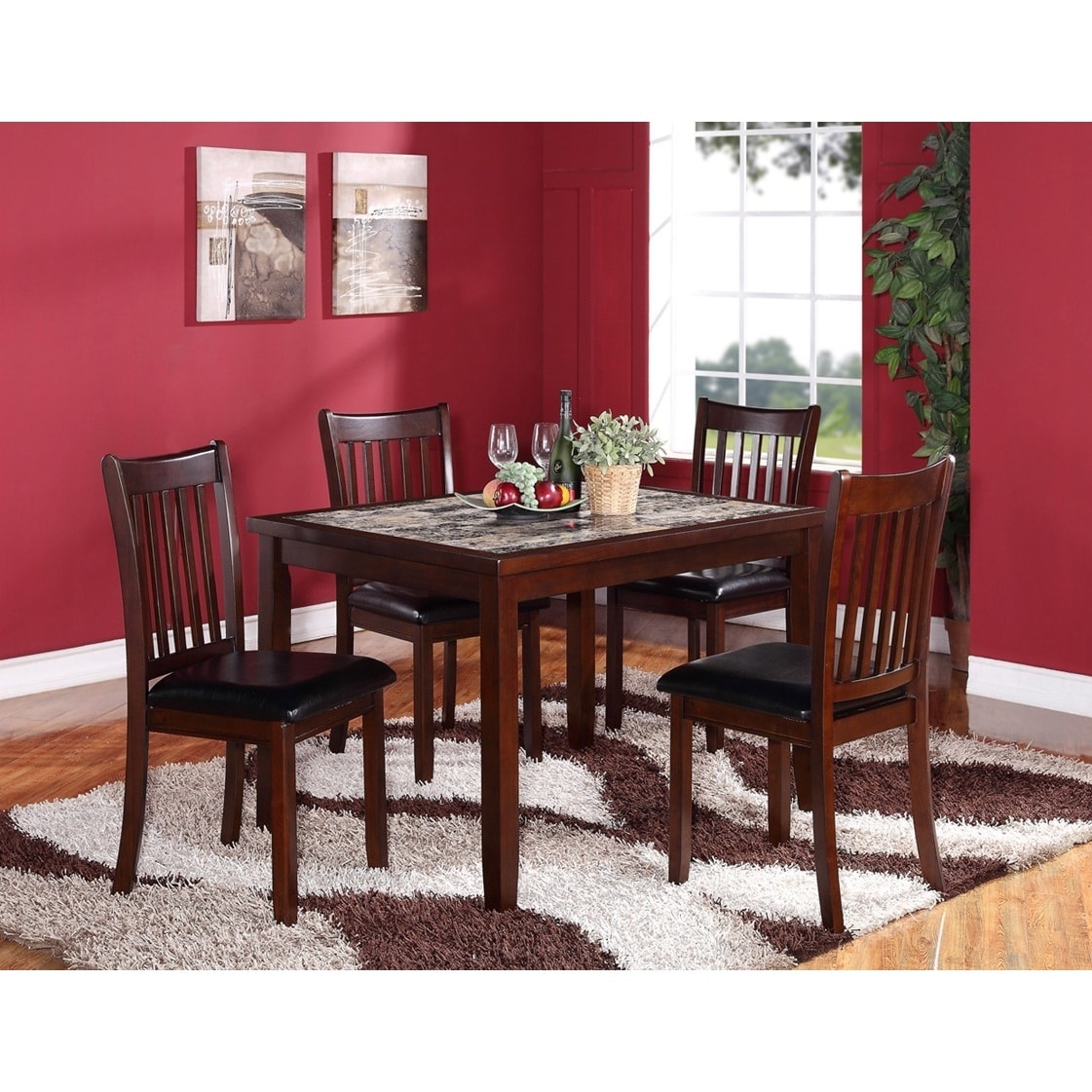 5 Piece Wooden Dining Set in Dark Brown with Artificial M...