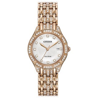 Citizen Women's Rose Goldtone Stainless Steel Silhouette Crystal EW2323-57A Eco-Drive Sparkling Austrian Crystal Watch