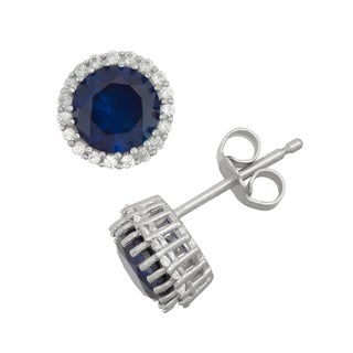 Gioelli Sterling Silver Created Sapphire and Created White Sapphire Halo Earrings