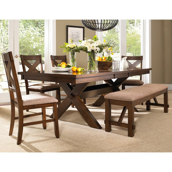 6 Piece Solid Wood Dining Set With Table 4 Chairs And Dining Bench Free Shipping Today