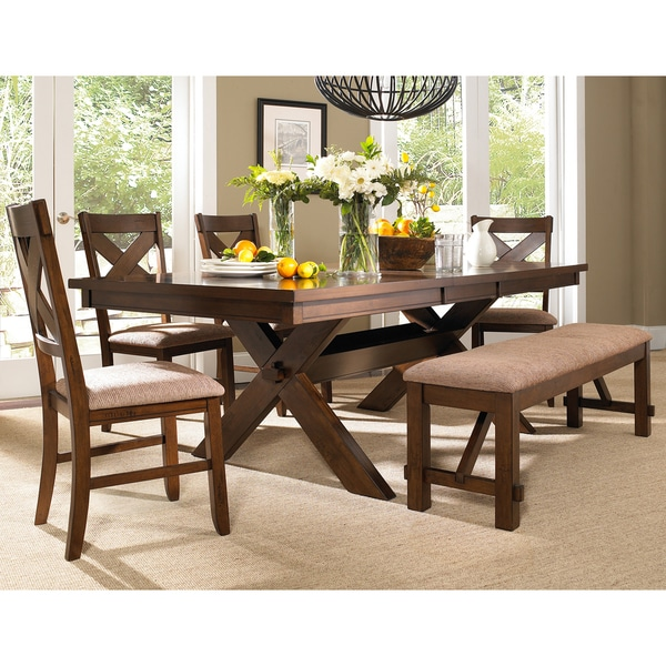 piece solid wood dining set with table 4 chairs and dining bench