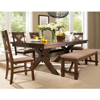 6 Piece Solid Wood Dining Set with Table, 4 Chairs, and Bench