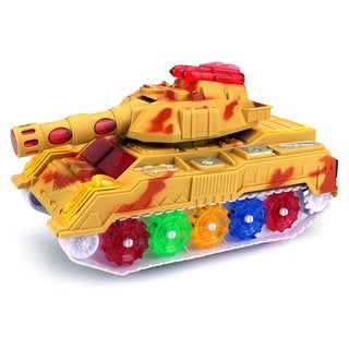 Military Tank Battery Operated Kid's Bump and Go Toy Car with Fun Flashing Lights and Sounds