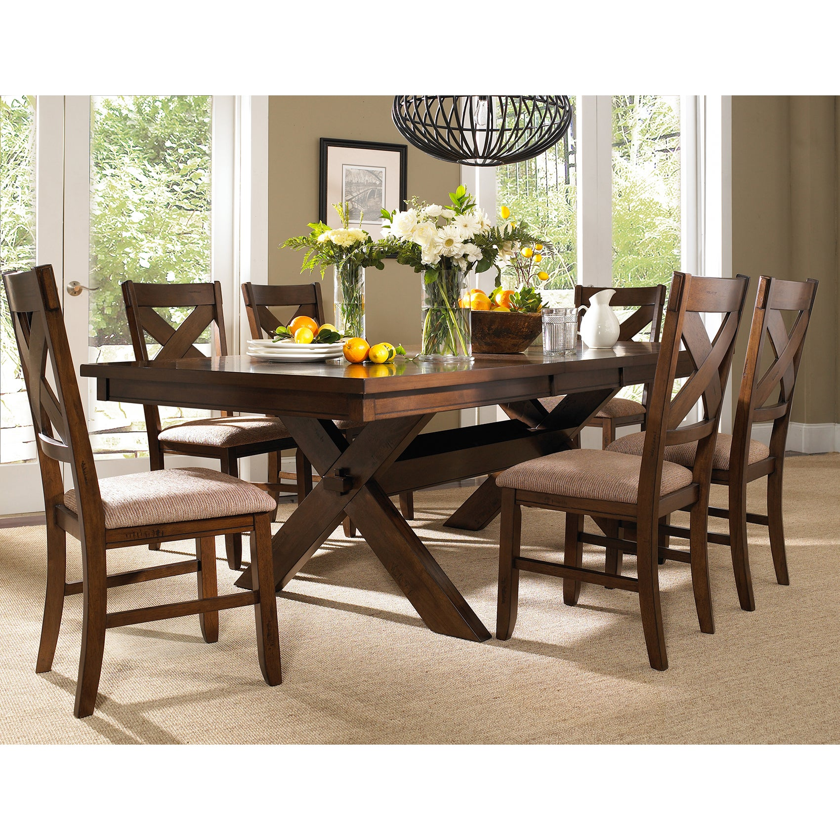 Unbranded 7 Piece Solid Wood Dining Set with Table and 6 ...