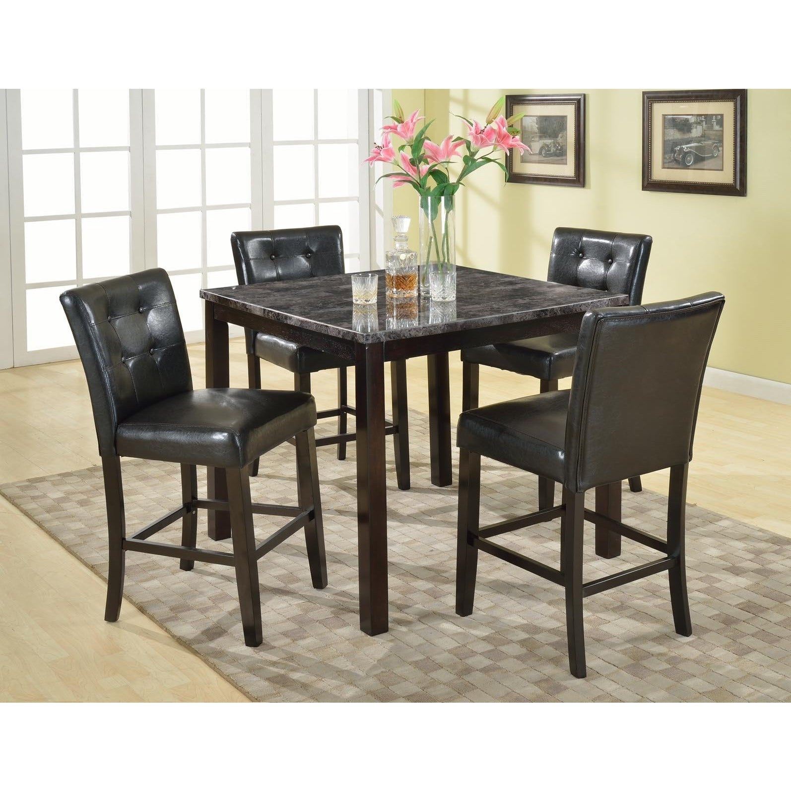 Praia 5 Piece Artificial Dark Marble Pub Dining Table and...