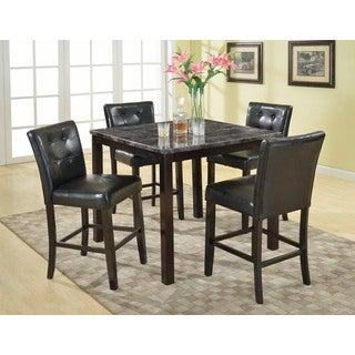 Praia 5 Piece Artificial Dark Marble Pub Dining Table and Chairs