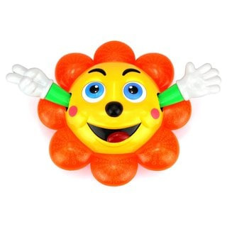 Dancing Sun Flower Kid's Bump and Go Toy with 360 Degree Rotations, Waving Hands and Lights