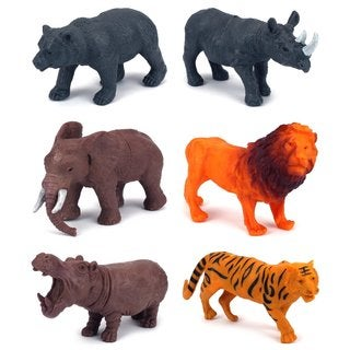 Jungle Animals 6-piece Toy Animal Figures Playset