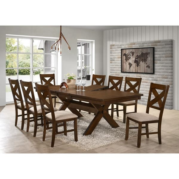 Shop 9 Piece Solid Wood Dining Set with Table and 8 Chairs ...