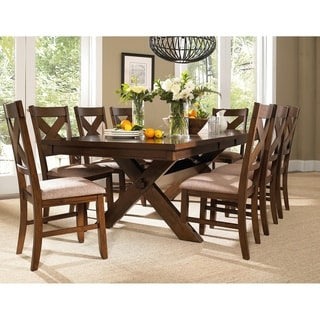 9 Piece Solid Wood Dining Set with Table and 8 Chairs  sc 1 st  Overstock.com & Size 9-Piece Sets Kitchen \u0026 Dining Room Sets For Less | Overstock.com