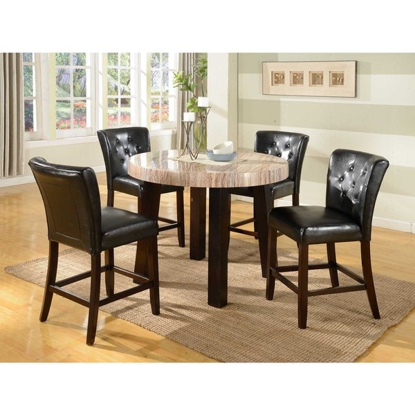 Zanic 5 Piece Ivory Espresso Faux Marble Round Counter Height Dining Set