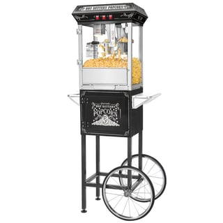 Great Northern Black 8-ounce Popcorn Popper Machine with Cart