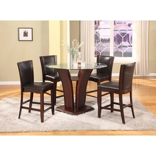 Clar 5 Piece Espresso Finish Glass Top Counter Height Dining Set