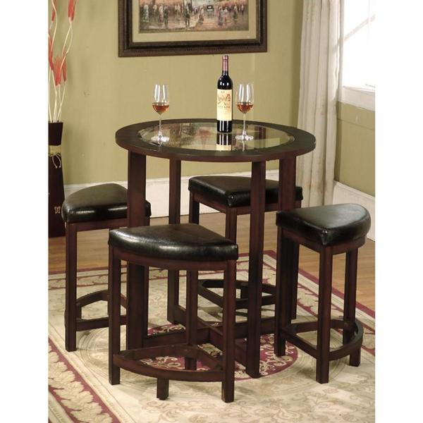 5 Piece Round Counter Height Dining Set In Solid Wood.