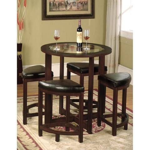 5 Piece Round Counter Height Dining Set in Solid Wood with Glass Table Top