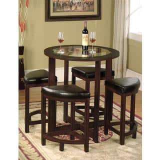 glass dining room table set. 5 Piece Round Counter Height Dining Set in Solid Wood with Glass Table Top Room Sets For Less  Overstock com