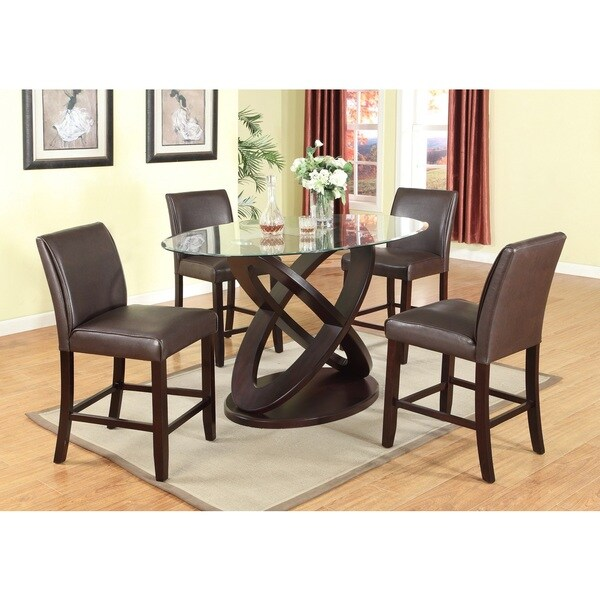 Average Dining Room Table Height: Shop 5 Piece Modern Counter Height In Dark Brown With
