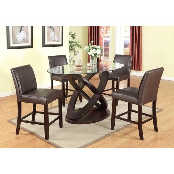 Fantastic Shop 5 Piece Modern Counter Height In Dark Brown With Glass Inzonedesignstudio Interior Chair Design Inzonedesignstudiocom