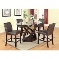 5 Piece Modern Counter Height in Dark Brown with Glass Tabletop and 4 Chairs