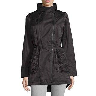 T Tahari Alexa Black Mesh Rain Jacket