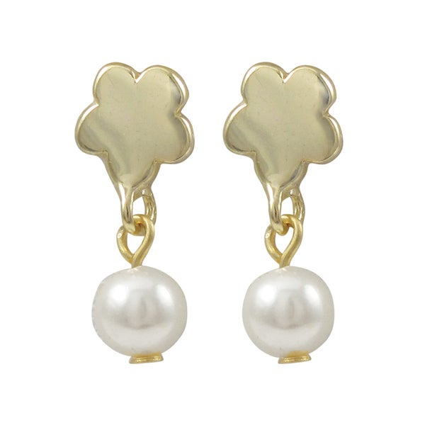Luxiro Gold Finish Flower Faux Pearl Girls Dangle Earrings - White