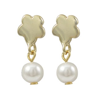 Luxiro Gold Finish Flower Faux Pearl Girls Dangle Earrings
