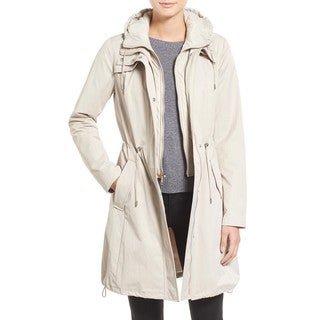 T Tahari Adele Beige Hooded Packable Anorak
