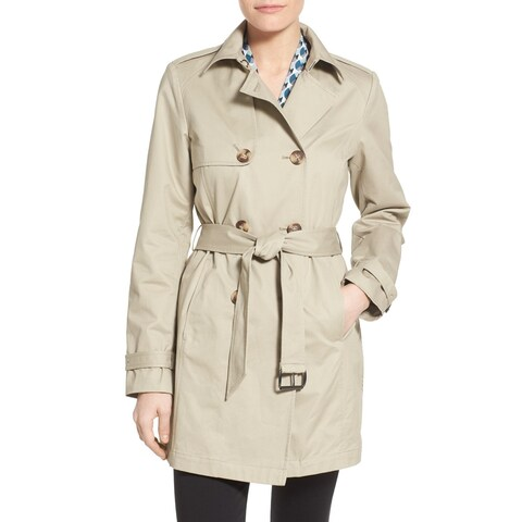 T Tahari Ladies Flare Trench Coat in Beige with Eyelet Back Design