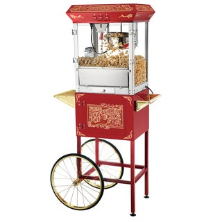 Great Northern Popcorn Red 8 Ounce Popcorn Popper Machine with Cart