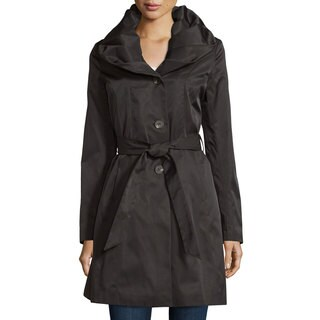 T Tahari Callie Black Shawl Collar Trench Coat