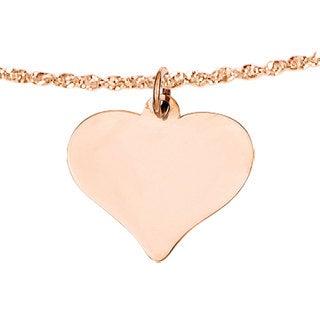 Versil 14k Rose Gold Curved Heart Disc Charm
