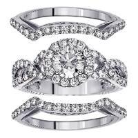 Platinum 2 2/5ct TDW Diamond Halo Bridal Ring Set