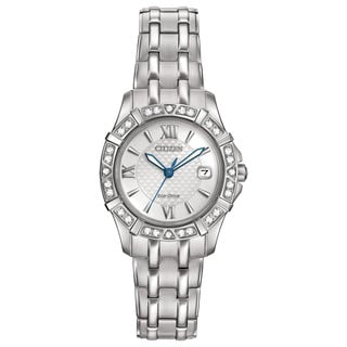 Citizen Women's Stainless Steel Diamond Eco-Drive Silvertone Dial Watch